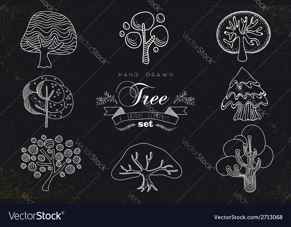 Custom hand made tree icons set vector | Price: 1 Credit (USD $1)