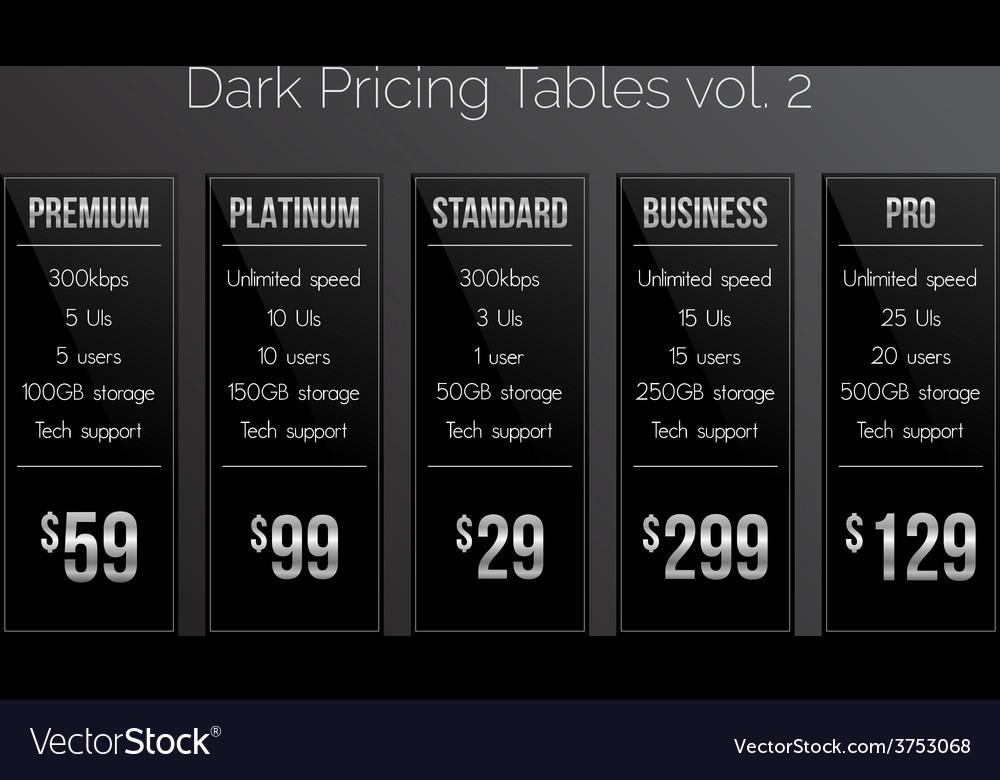 Dark pricing tables - black and silver design vector | Price: 1 Credit (USD $1)