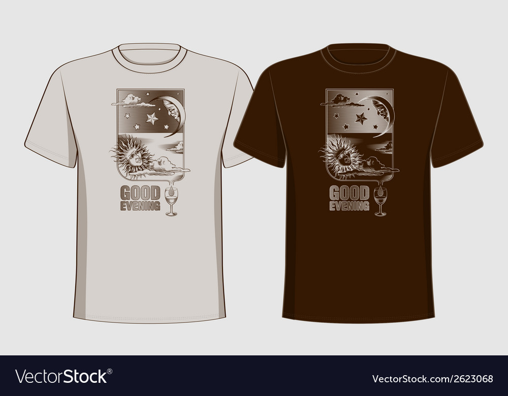 Design t-shirts with vintage printing sun moon and vector | Price: 1 Credit (USD $1)