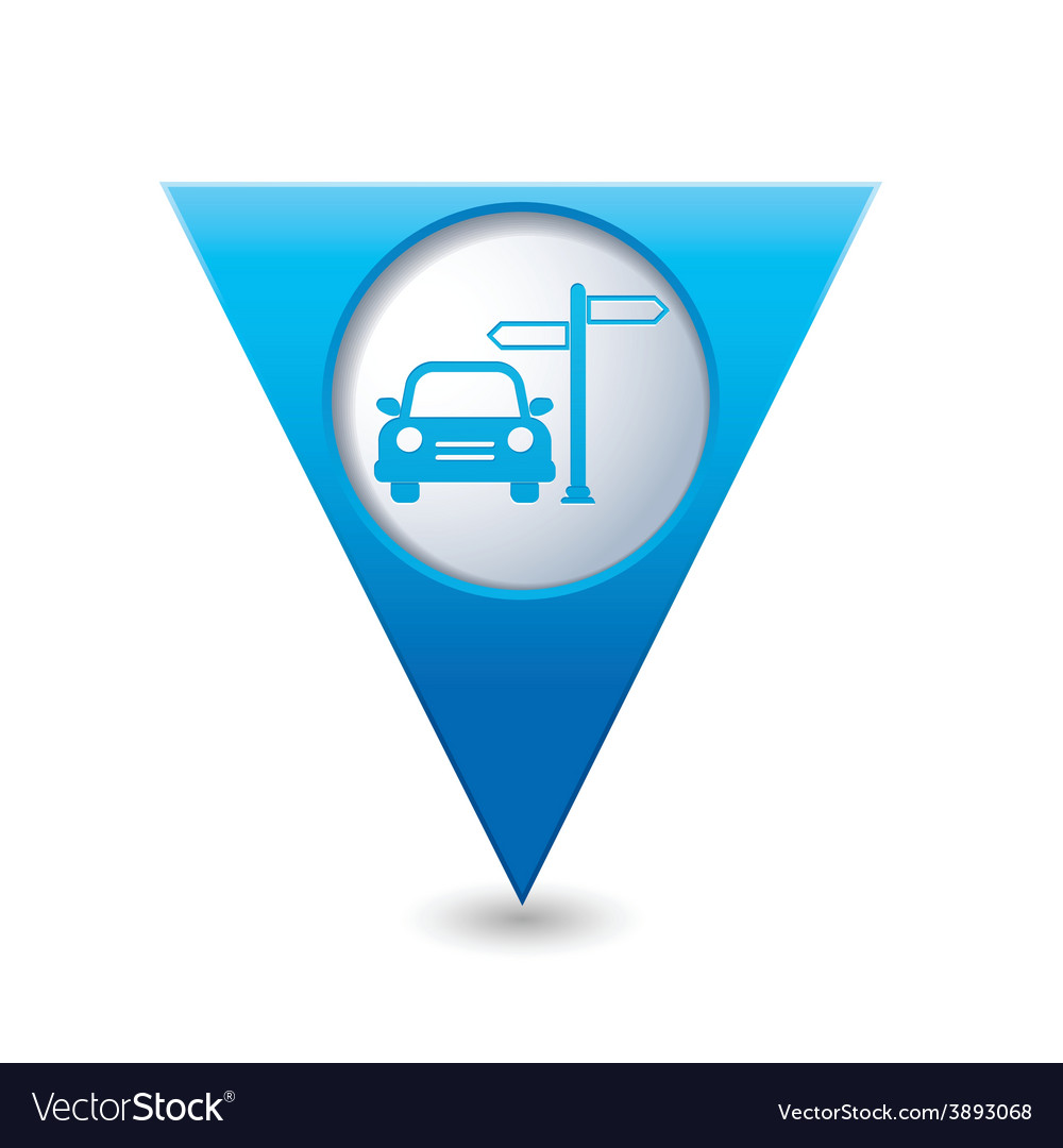 Direct car blue triangular map pointer vector | Price: 1 Credit (USD $1)