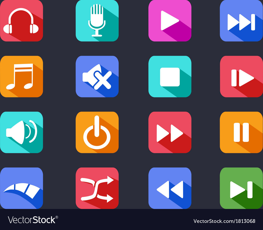 Flat media button long shadow icons vector   Price: 1 Credit (USD $1)