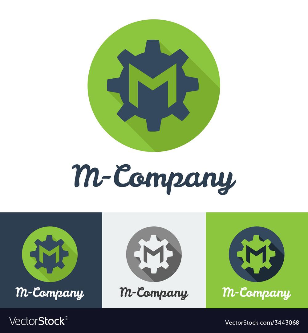 Flat minimalistic m letter logo vector | Price: 1 Credit (USD $1)