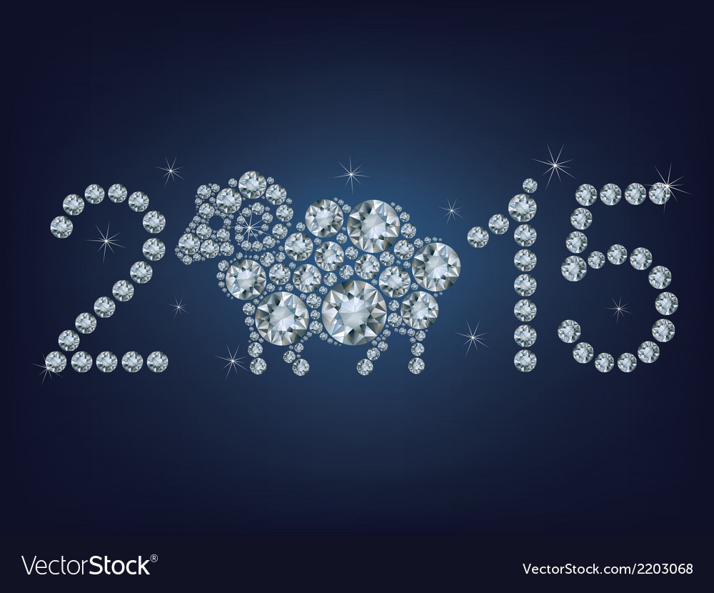 Happy new year 2015 creative greeting card with sh vector | Price: 1 Credit (USD $1)