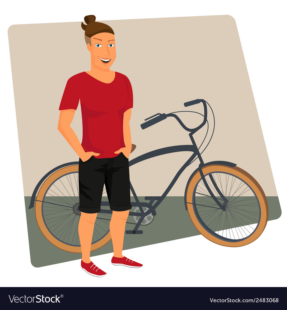 Hipster guy wearing small ponytail with bicycle vector   Price: 1 Credit (USD $1)