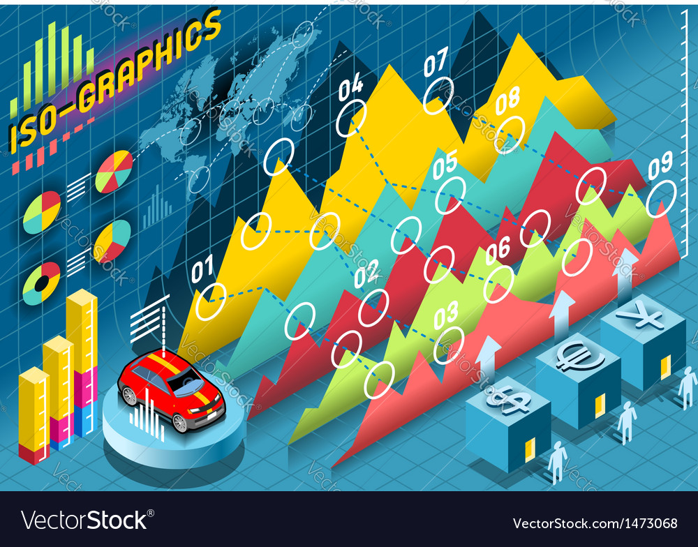 Isometric infographic histogram set elements with vector | Price: 1 Credit (USD $1)