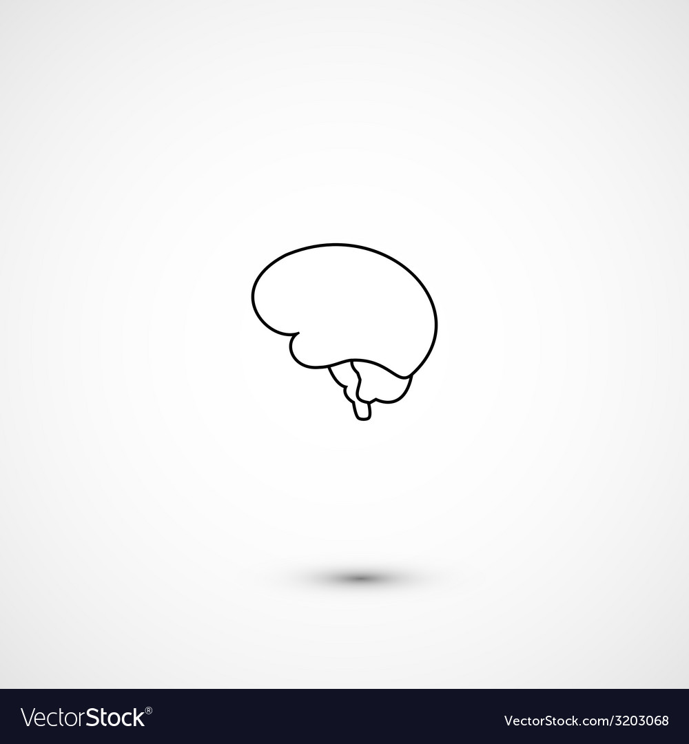 Minimal brain icon vector | Price: 1 Credit (USD $1)