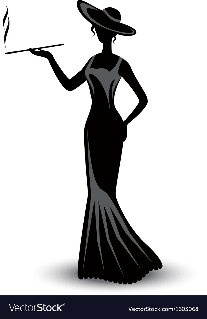 Retro silhouette elegant smoking woman vector | Price: 1 Credit (USD $1)