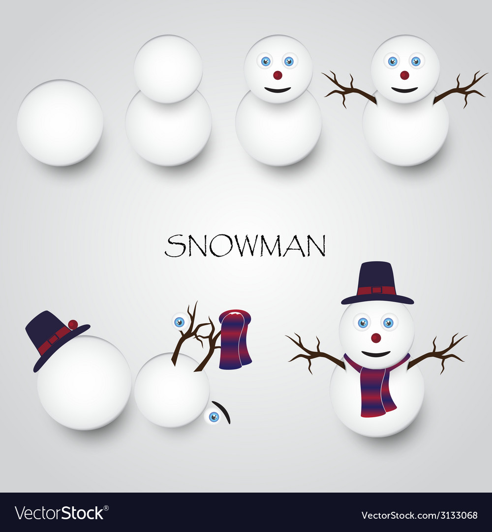 White winter happy snowman building eps10 vector | Price: 1 Credit (USD $1)