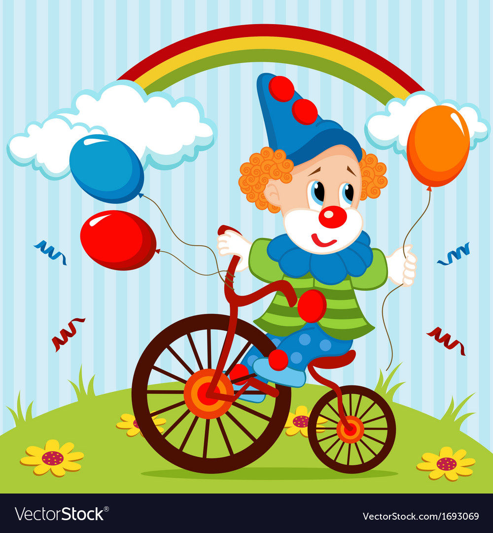 Clown on bike vector | Price: 1 Credit (USD $1)