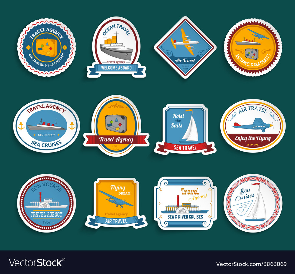 Cruise travel agency stickers set vector | Price: 1 Credit (USD $1)