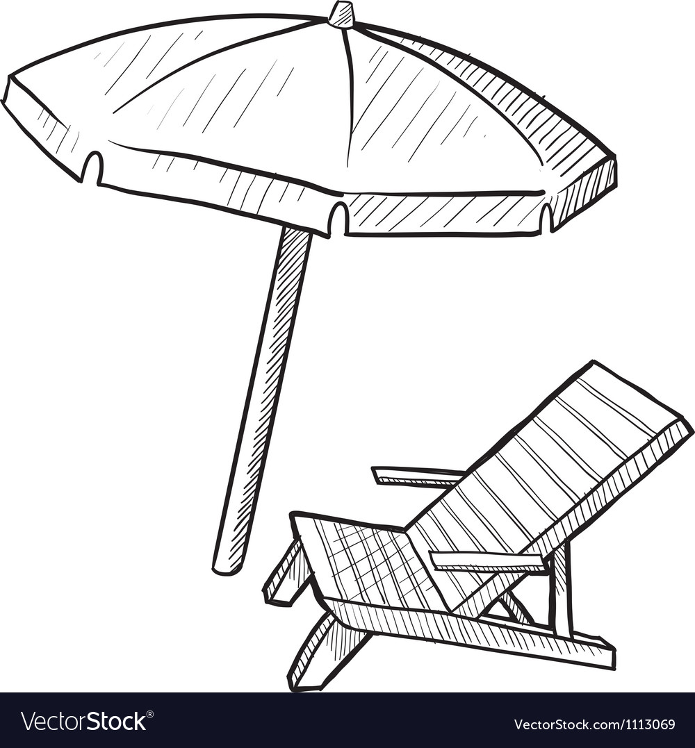 Doodle beach chair umbrella vector | Price: 1 Credit (USD $1)