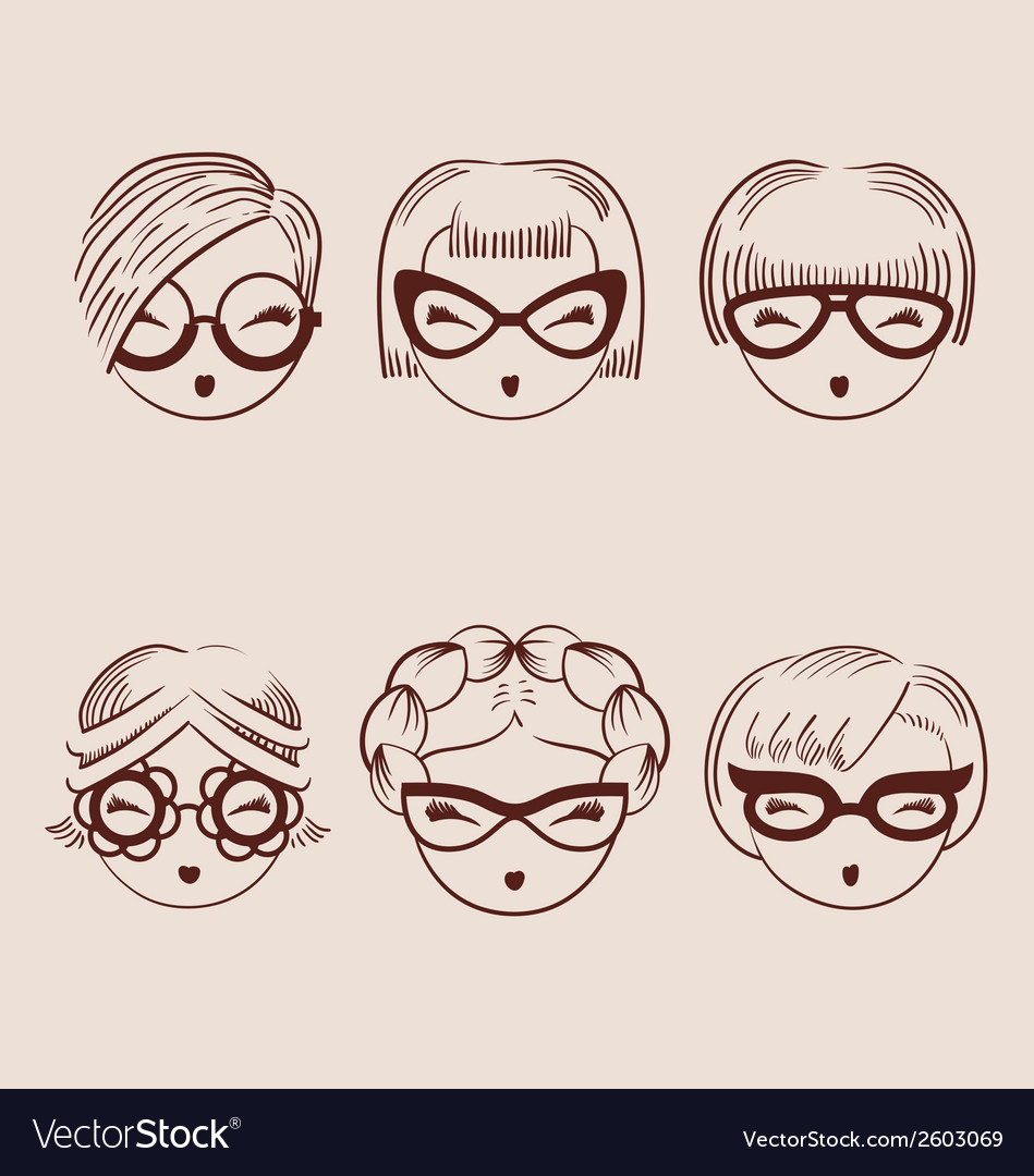 Fashion girls in glasses icon set hand drawn eps vector | Price: 1 Credit (USD $1)