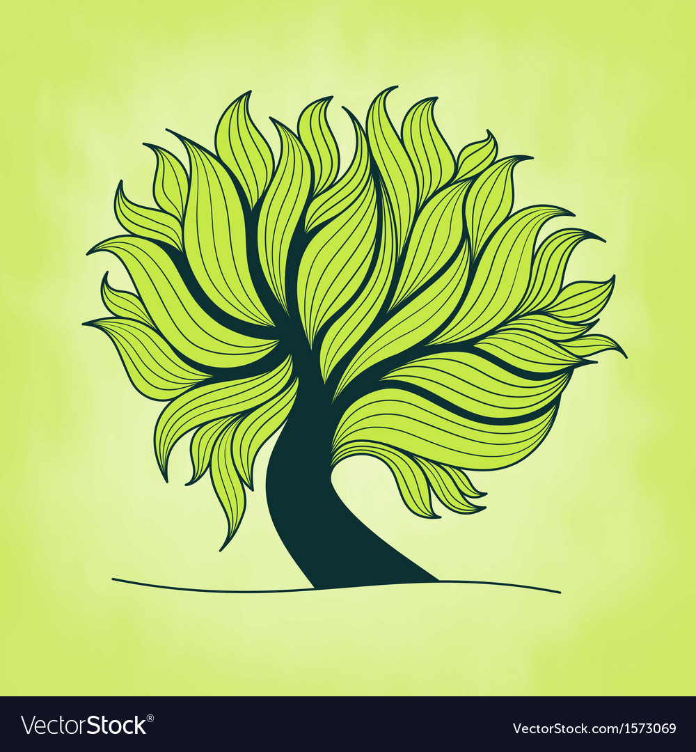 Green tree with branches and leaves vector | Price: 1 Credit (USD $1)