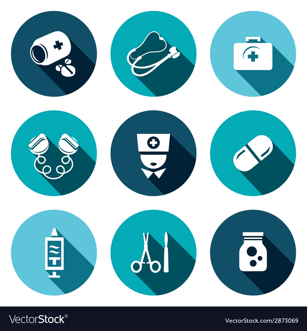 Medicine flat icons set vector | Price: 1 Credit (USD $1)