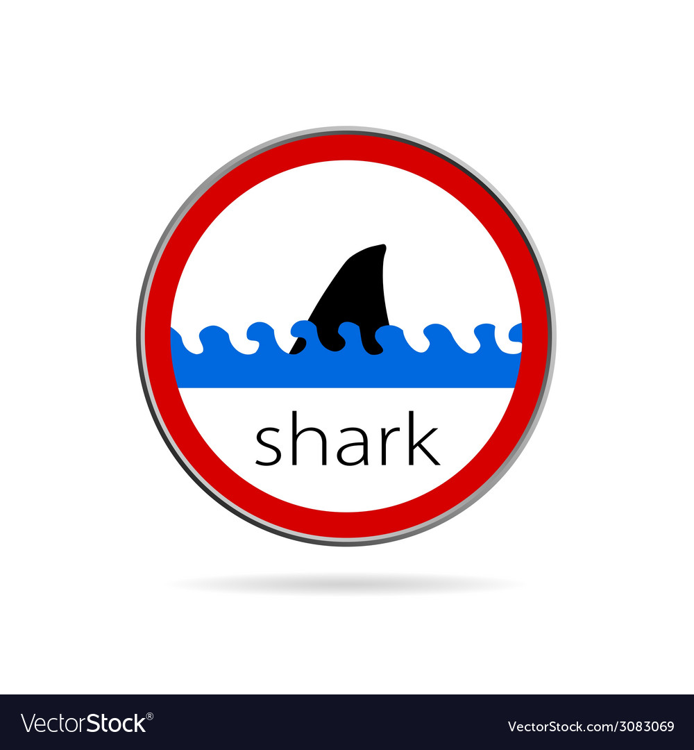 Sign of danger from sharks vector | Price: 1 Credit (USD $1)