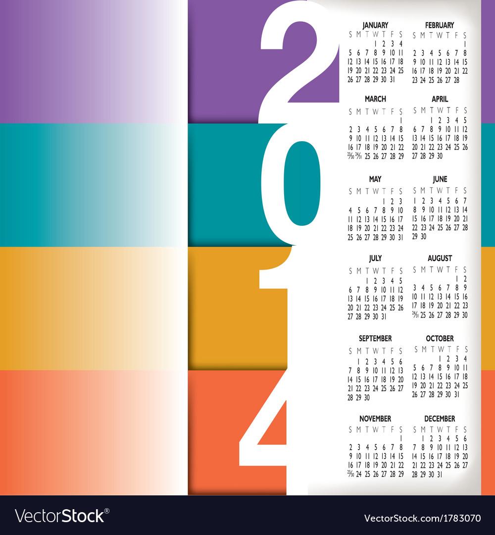 2014 color stripes calendar vector | Price: 1 Credit (USD $1)