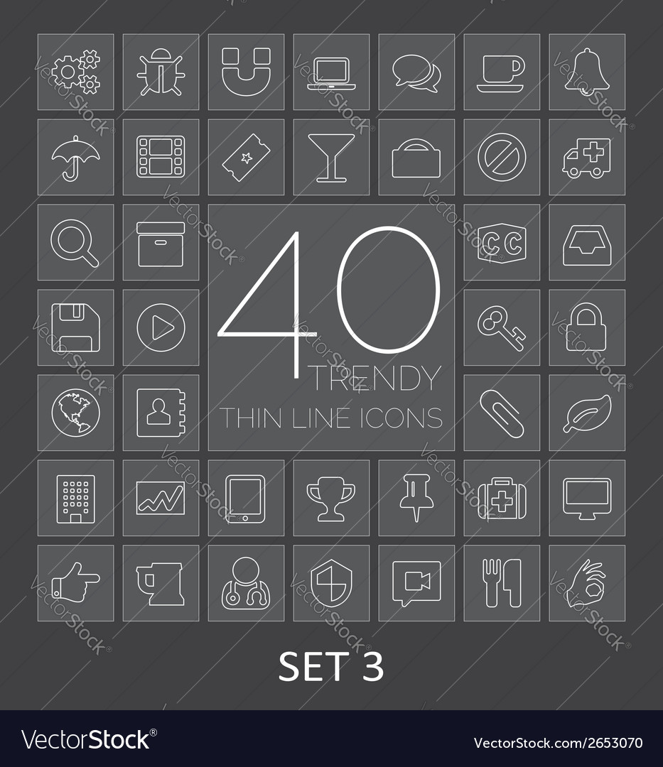 40 trendy thin line icons for web and mobile set 3 vector | Price: 1 Credit (USD $1)