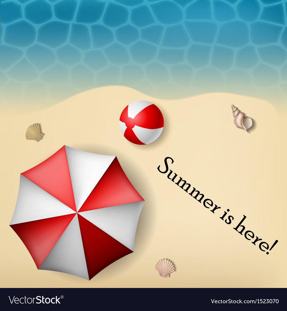 Beach text frame with umbrella and ball vector | Price: 1 Credit (USD $1)