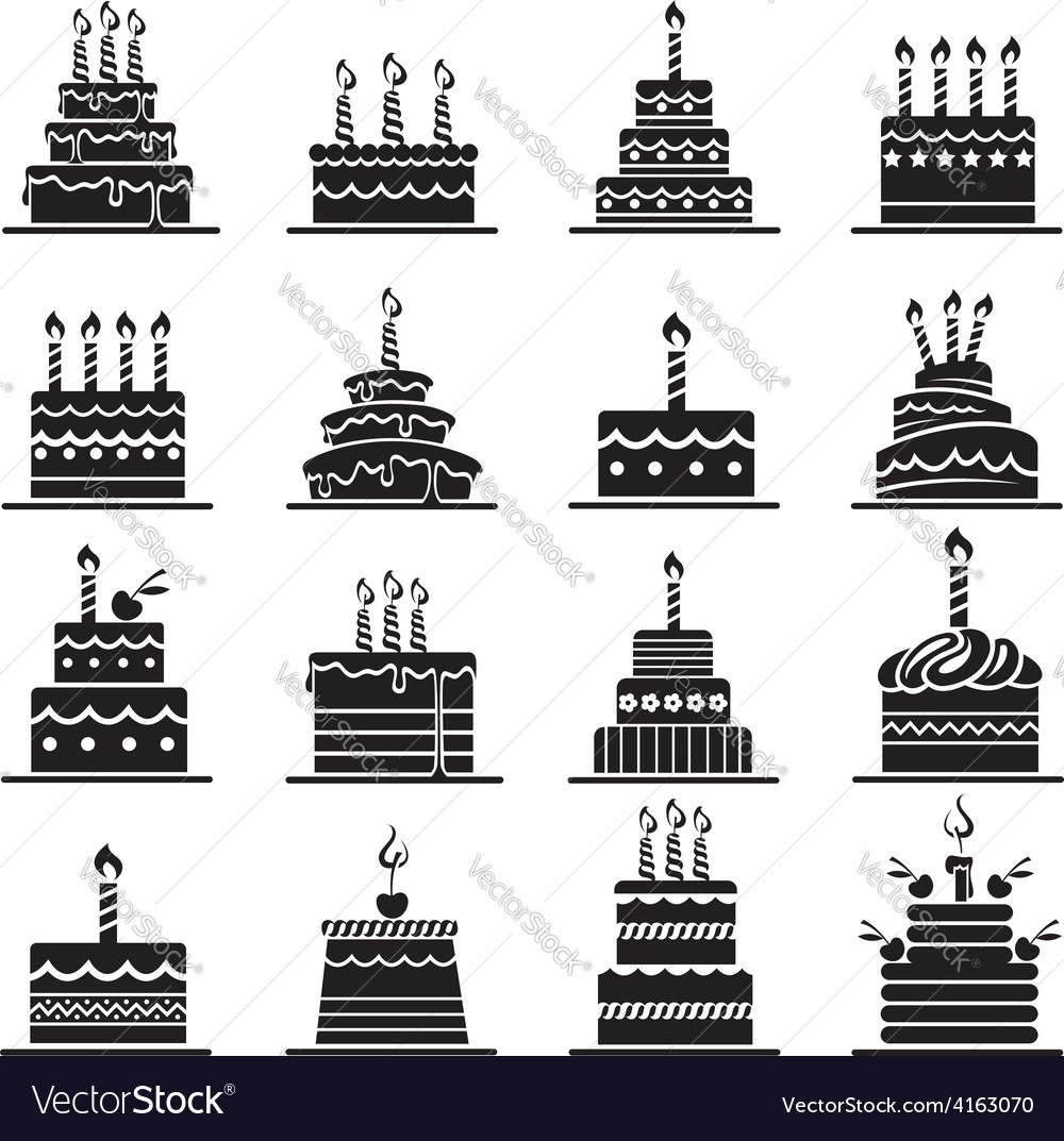 Birthday cake set vector | Price: 1 Credit (USD $1)