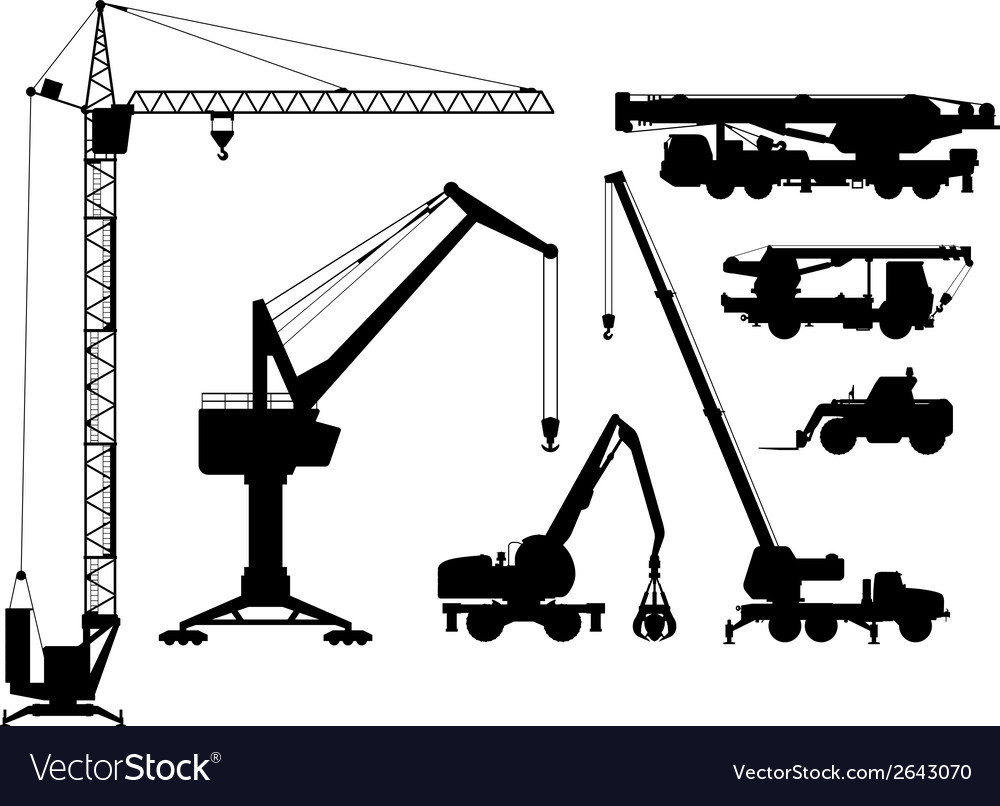 Building technique silhouettes vector | Price: 1 Credit (USD $1)