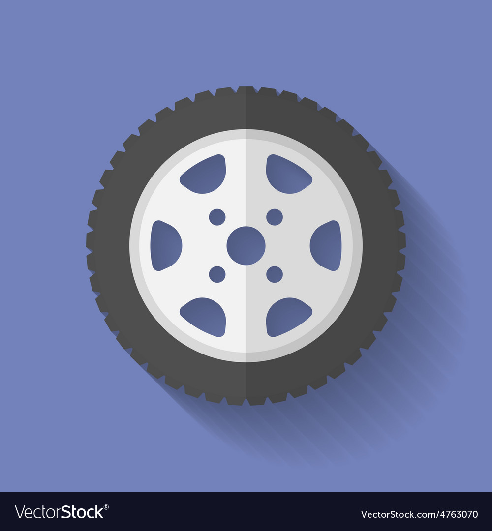 Car wheel icon flat style vector | Price: 1 Credit (USD $1)