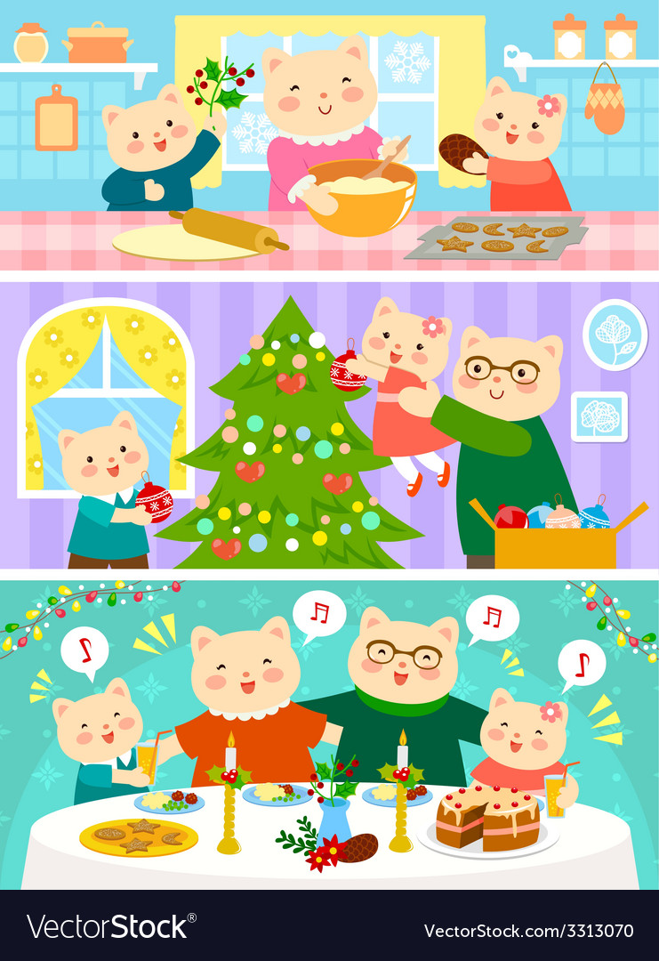 Cats family on christmas vector | Price: 3 Credit (USD $3)