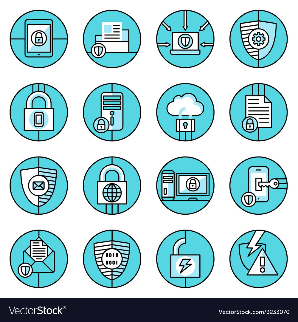 Data protection icons blue line vector | Price: 1 Credit (USD $1)