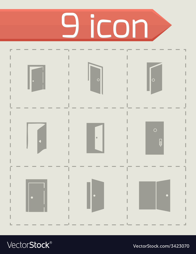 Door icon set vector | Price: 1 Credit (USD $1)