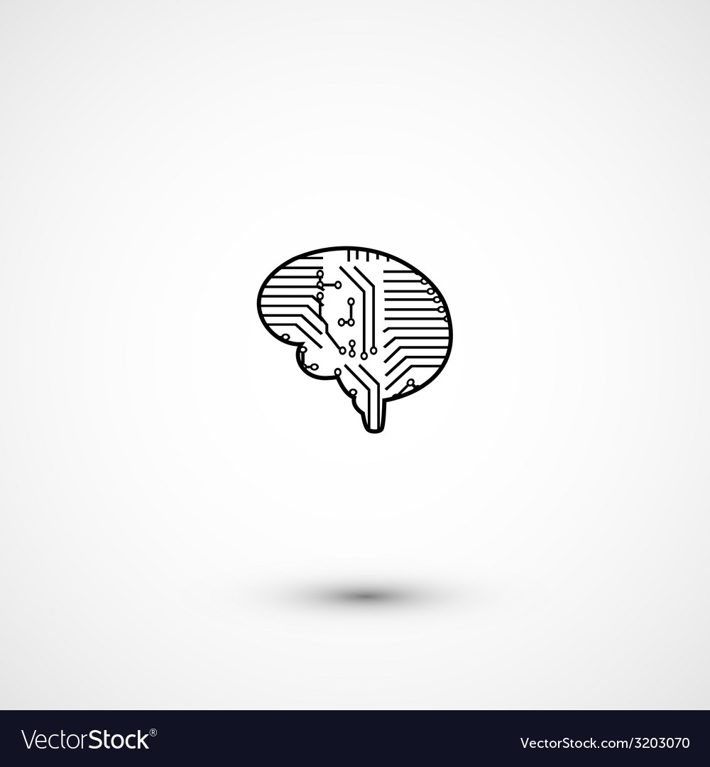 Flat electric circuit brain icon vector | Price: 1 Credit (USD $1)