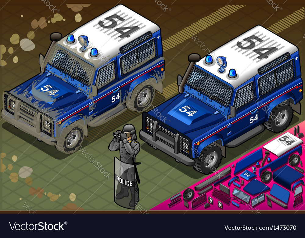 Isometric police off road vehicle in front view vector | Price: 1 Credit (USD $1)