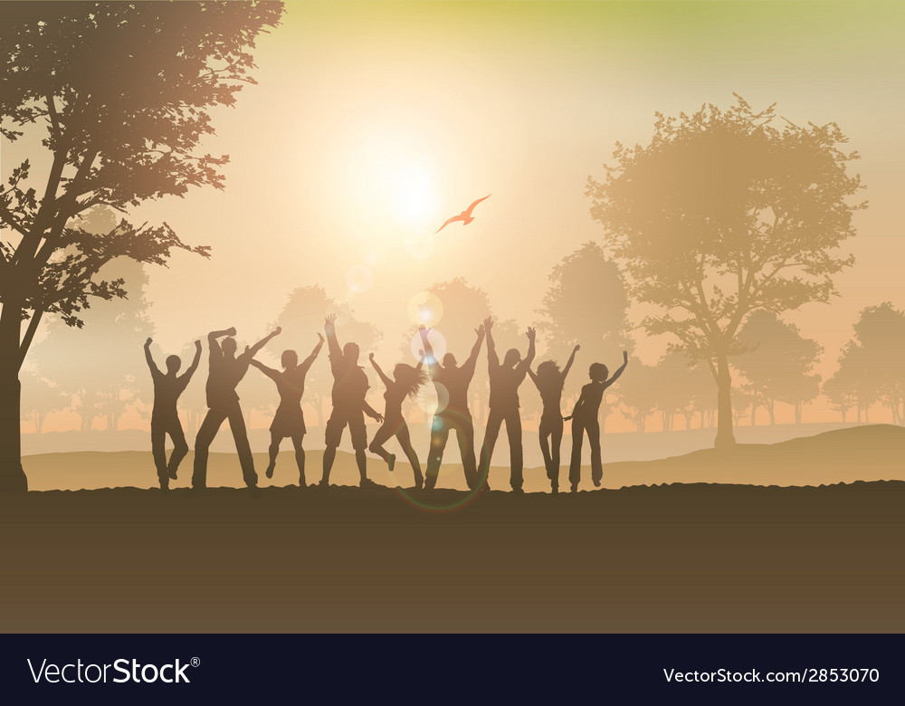 People dancing in the countryside vector | Price: 1 Credit (USD $1)