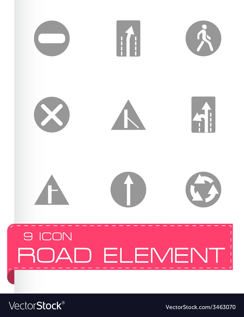 Road element icon set vector | Price: 1 Credit (USD $1)