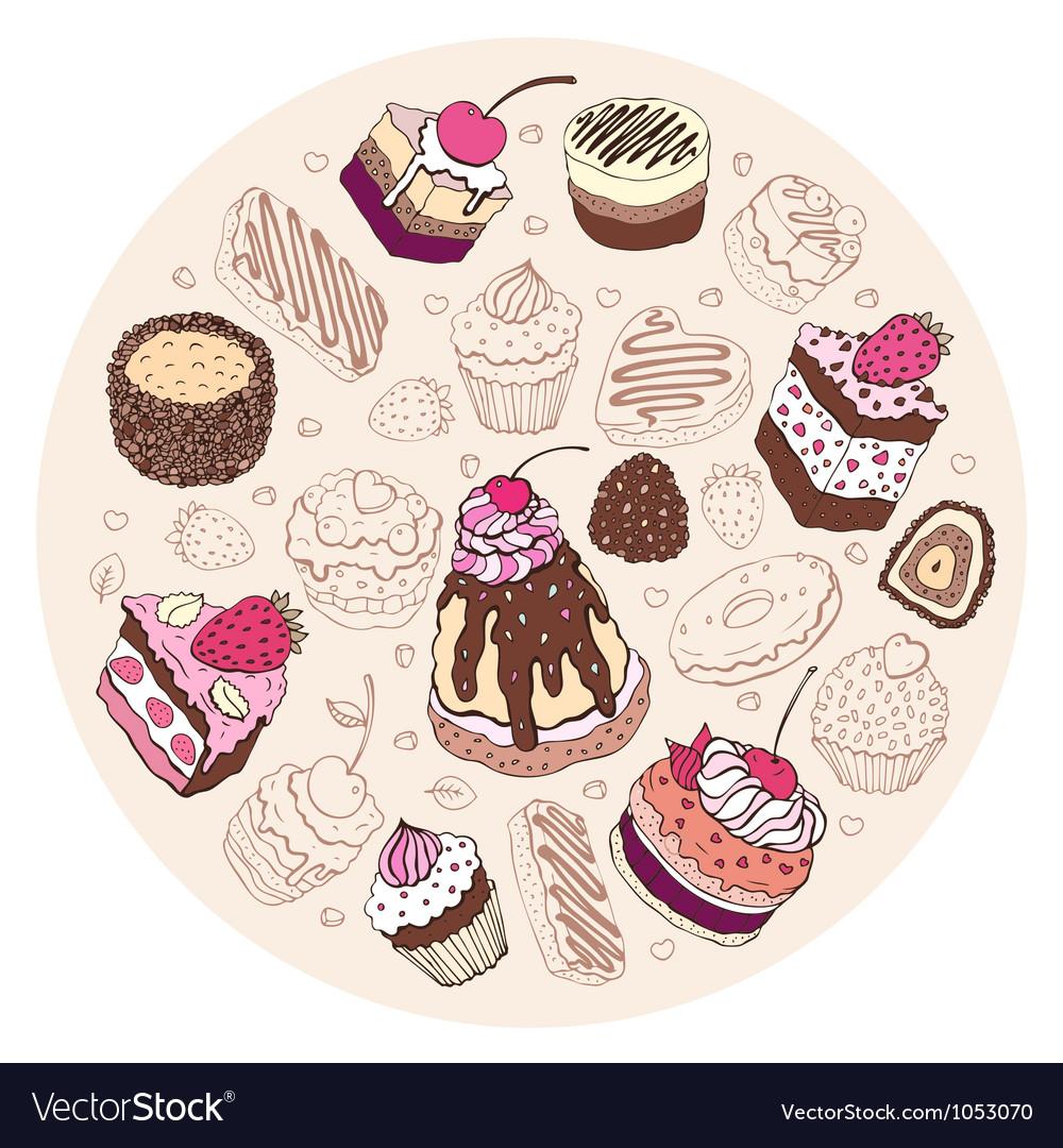 Set of cute cake vector | Price: 1 Credit (USD $1)