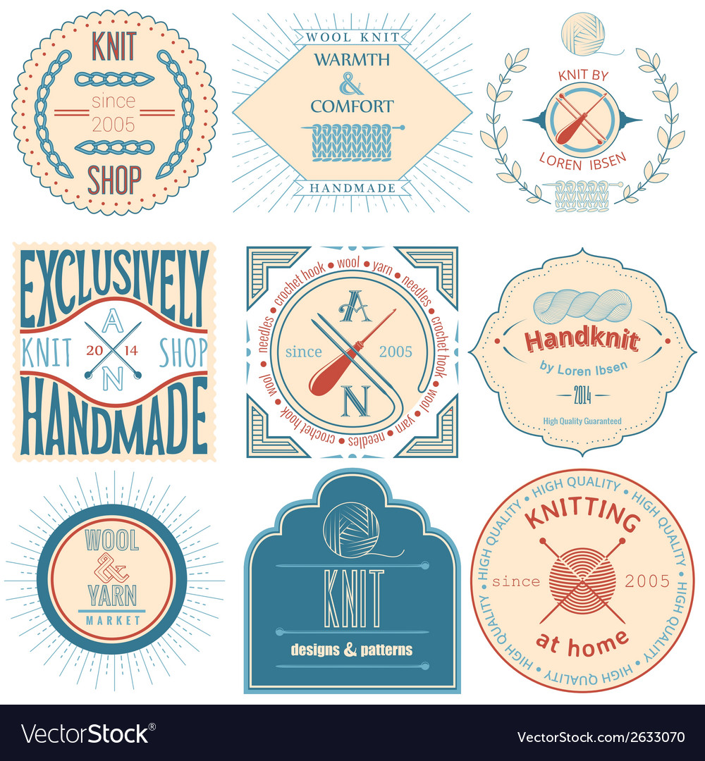 Set of vintage knitting labels badges and design vector | Price: 1 Credit (USD $1)