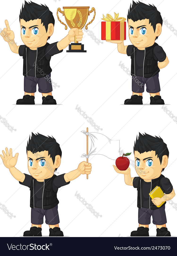 Spiky rocker boy customizable mascot vector | Price: 1 Credit (USD $1)