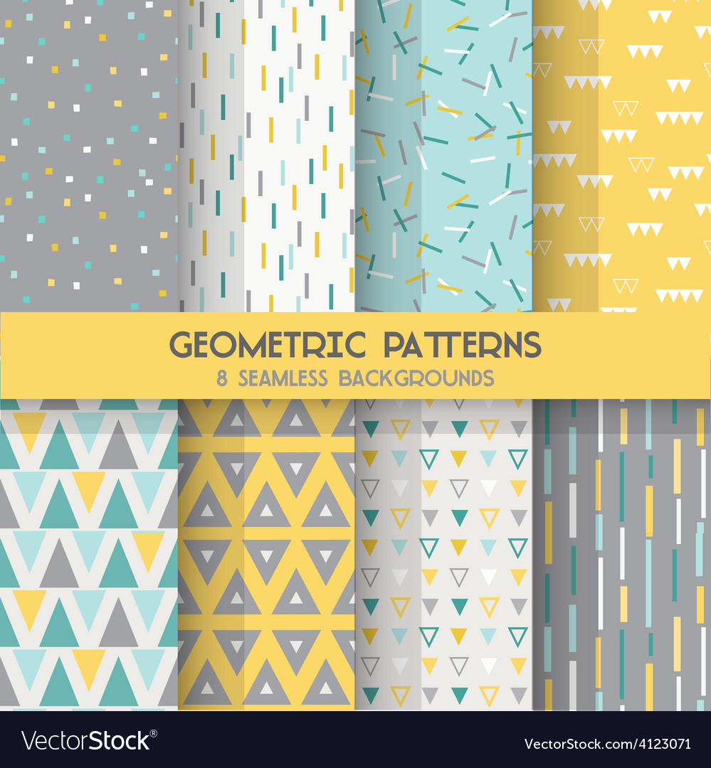8 seamless geometric patterns vector | Price: 1 Credit (USD $1)