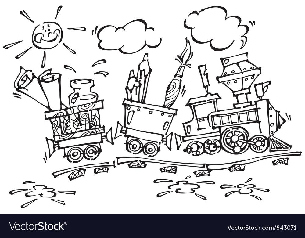Baby train black vector | Price: 1 Credit (USD $1)