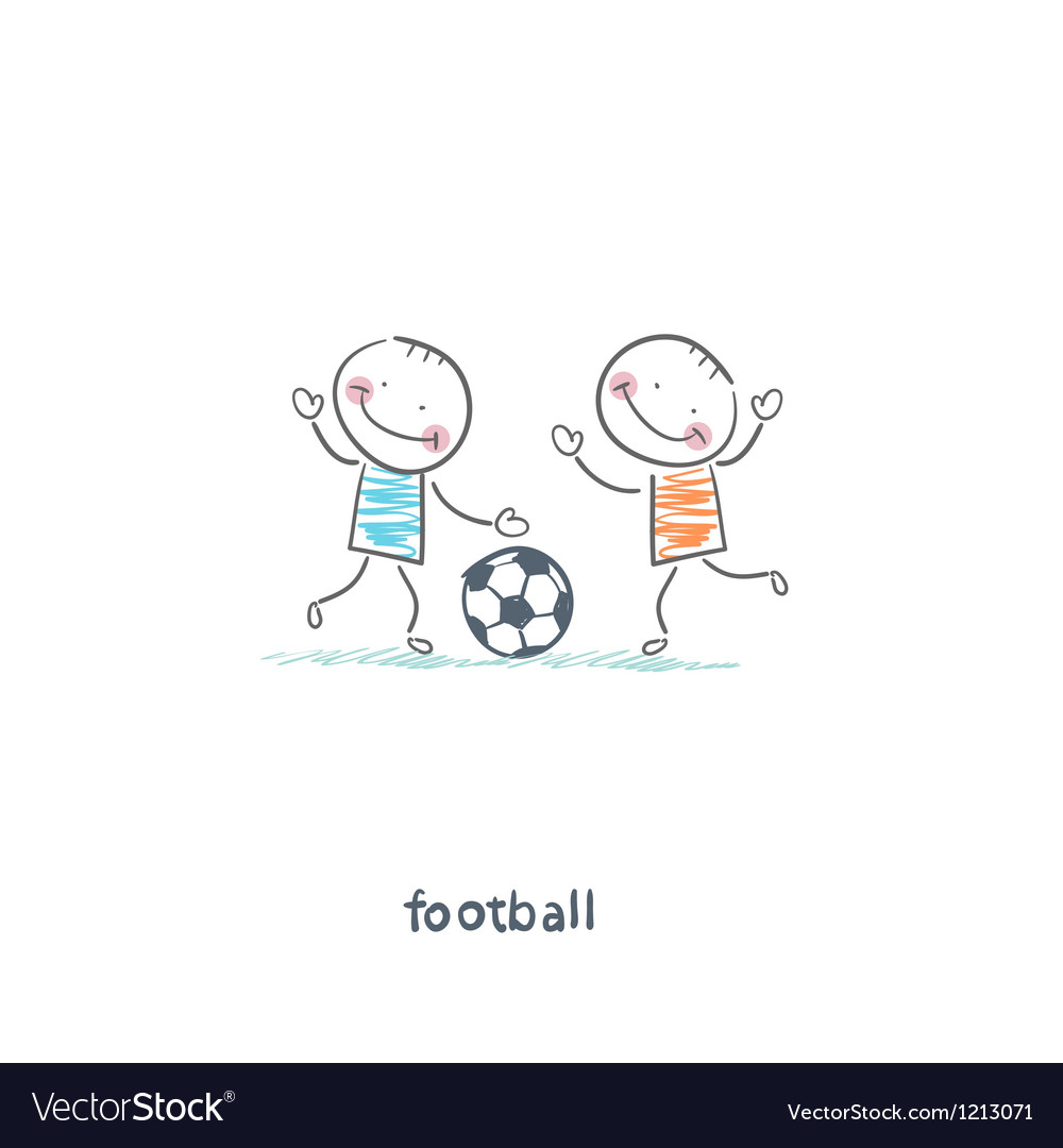 The boys are playing football vector | Price: 1 Credit (USD $1)