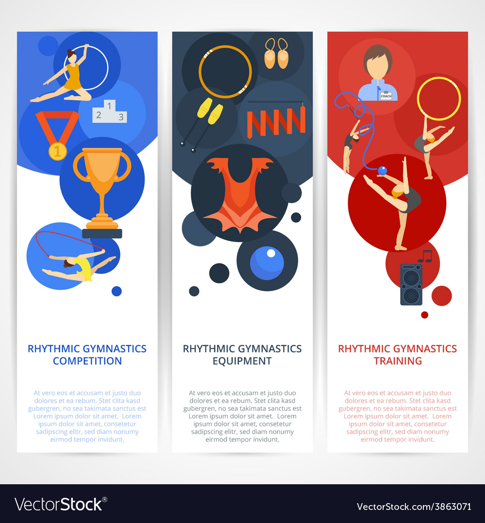 Gymnastics banners flat vector | Price: 1 Credit (USD $1)