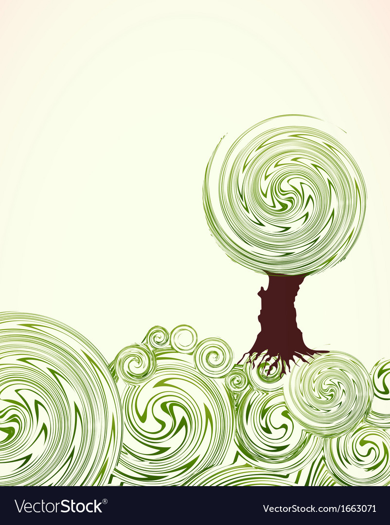 Hand drawn ornate swirl grass and tree vector | Price: 1 Credit (USD $1)