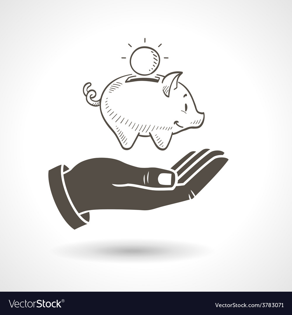Hand holding piggy bank vector | Price: 1 Credit (USD $1)