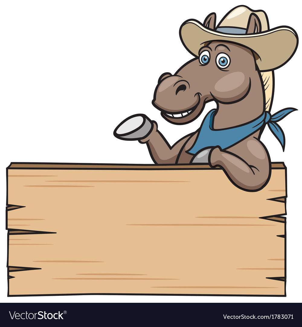 Horse with wooden sign vector | Price: 1 Credit (USD $1)
