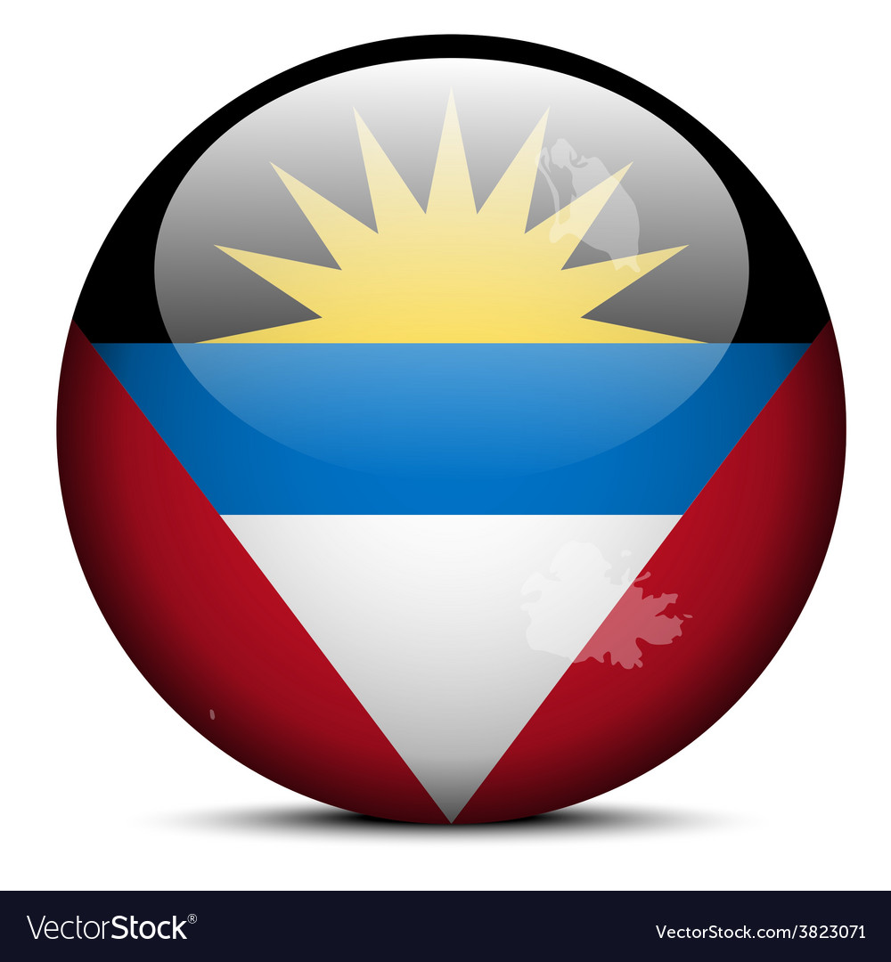 Map on flag button of antigua and barbuda vector | Price: 1 Credit (USD $1)