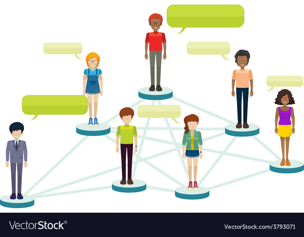 Networks of people with callouts vector | Price: 1 Credit (USD $1)