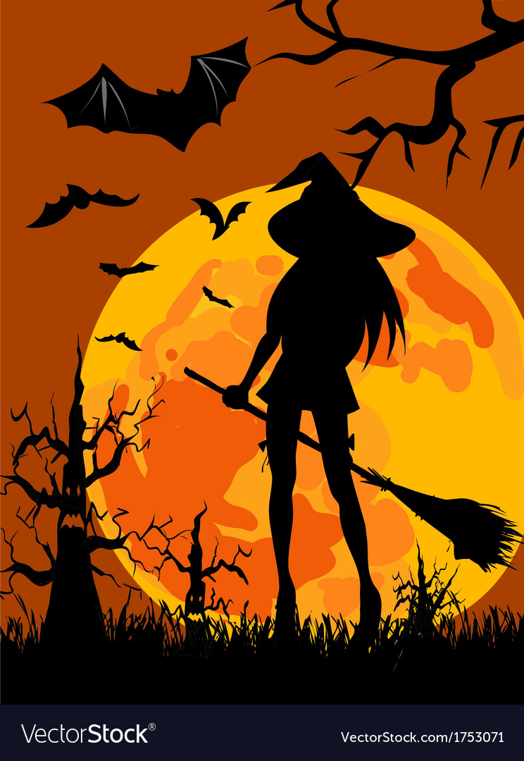 Witch silhouette halloween vector | Price: 1 Credit (USD $1)