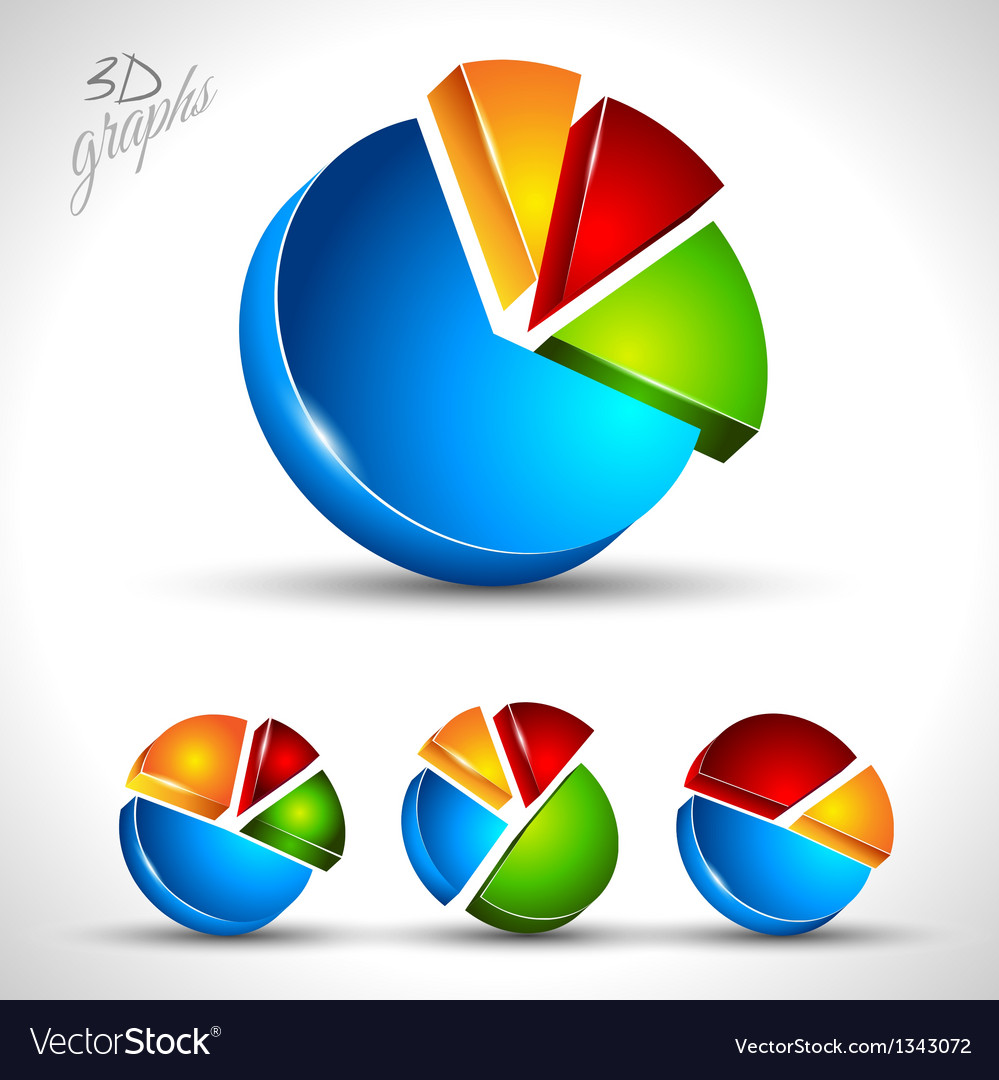 3d pie diagram for infographic or percentage data vector | Price: 1 Credit (USD $1)