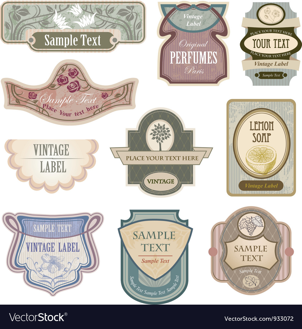 Antique lables vector | Price: 1 Credit (USD $1)