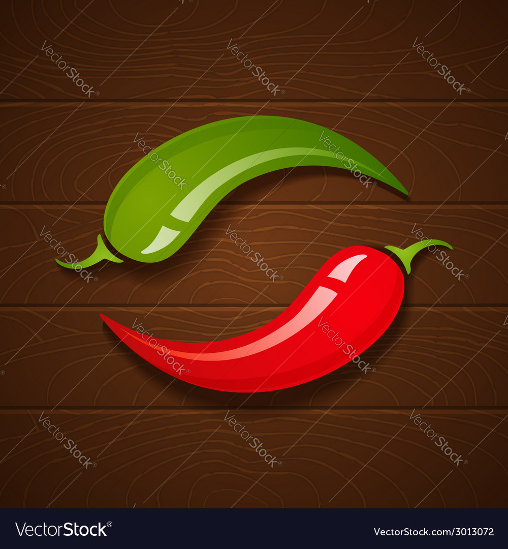 Chili on wooden background vector | Price: 1 Credit (USD $1)