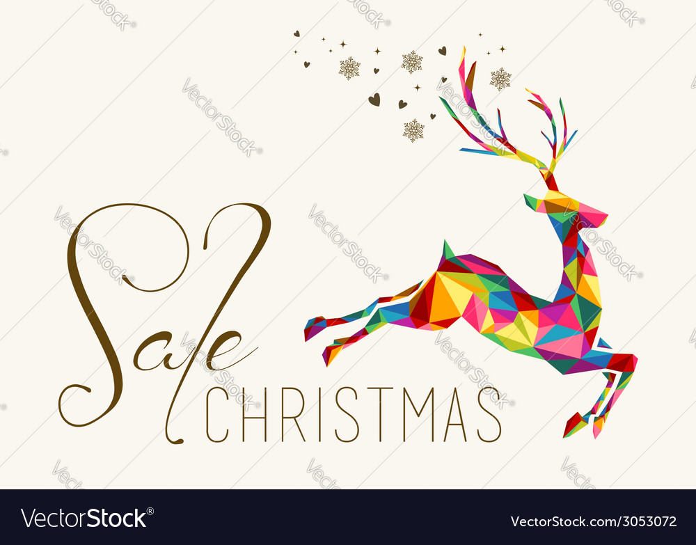 Christmas sale colorful reindeer vintage hang tag vector | Price: 1 Credit (USD $1)