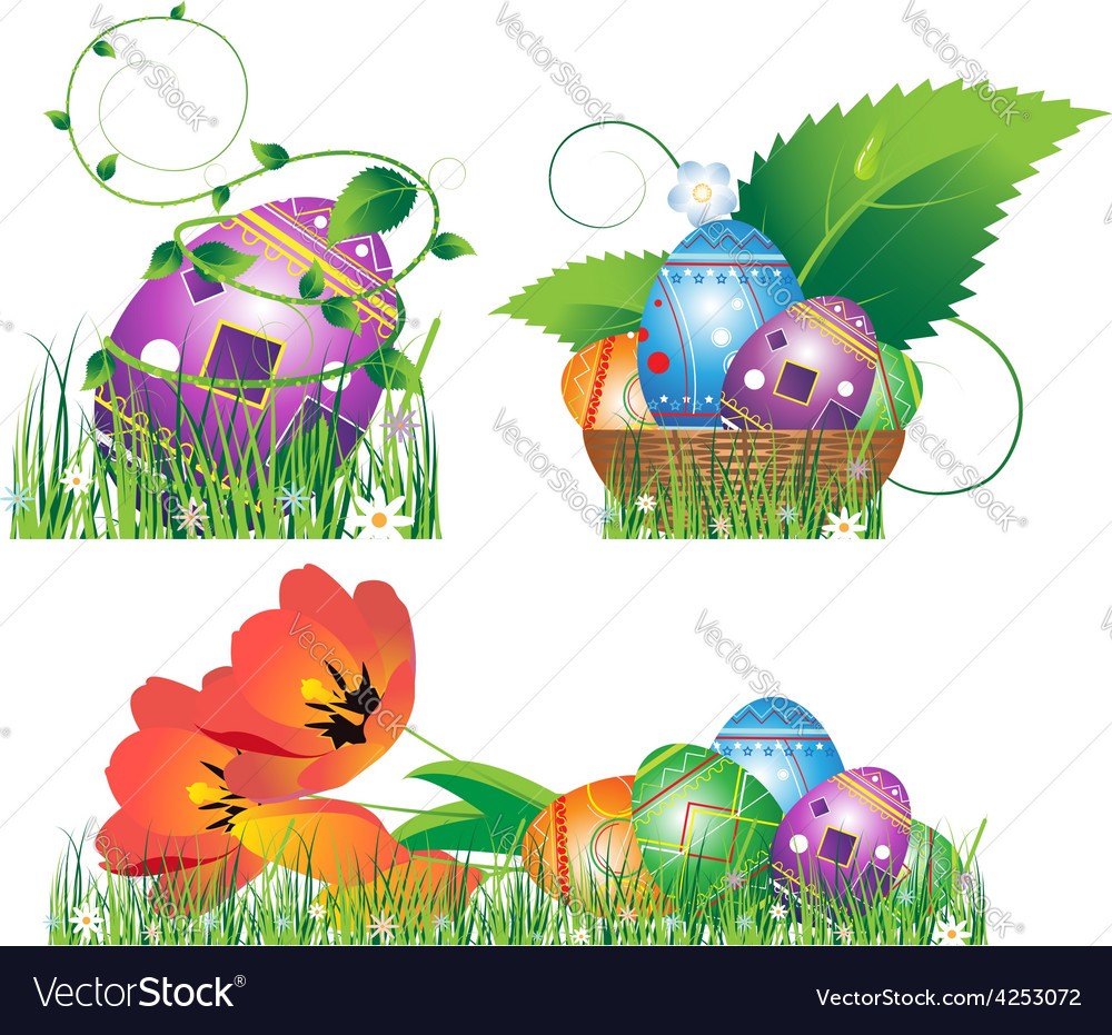 Eggs with abstract pattern in the grass vector | Price: 3 Credit (USD $3)